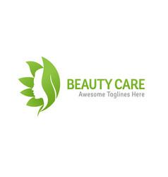 Nature beauty care logo design vector