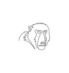 One single line drawing baboon head vector