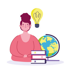 online education teacher with school globe books vector image
