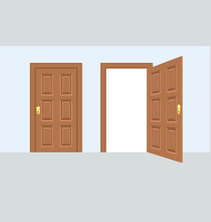 open and closed door house front wooden open vector image