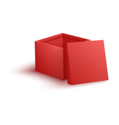 open empty red paper box in vector image