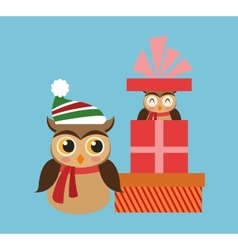 Owl cartoon and gift of Christmas design vector