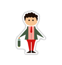 Paper sticker on white background businessman vector