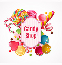 realistic candies frame background vector image