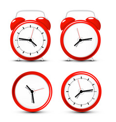 red alarm clock set isolated on white background vector image