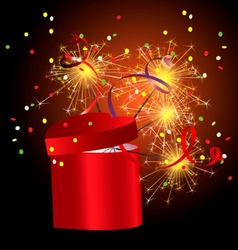 red gift box with sparkler vector image