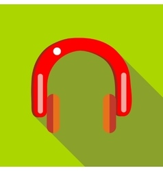 Red headphones icon in flat style vector