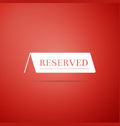 Reserved icon isolated on red background vector
