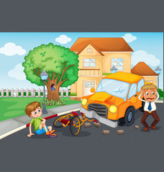 Scene with accident on road vector