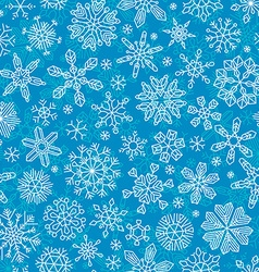Seamless outlined snowflakes pattern vector
