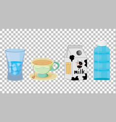 Set different types drinks isolated vector
