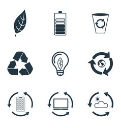 set ecology icons collection in flat design vector image
