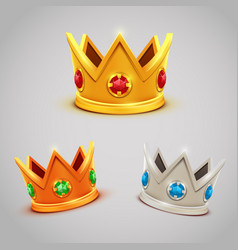 Set of gold silver bronze crowns with jewels vector
