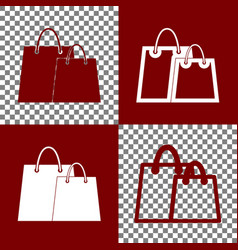Shopping bags sign bordo and white icons vector
