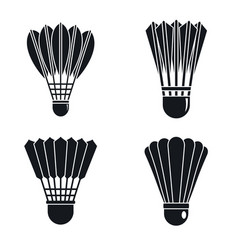 shuttlecock badminton icon set simple style vector image