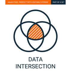 simple data intersection outline colorful vector image