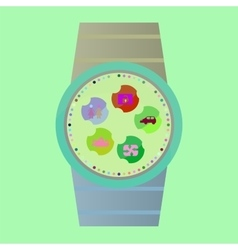 Smart watch with apps icons vector image