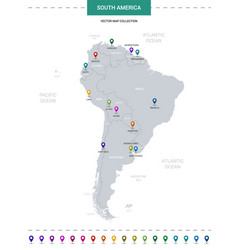 South america map with location pointer marks vector