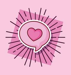speech bubble love heart cartoon style vector image