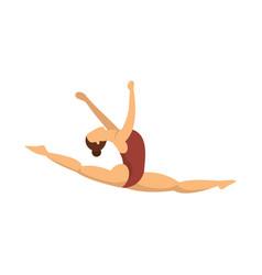 Split jump girl gymnastics icon flat style vector
