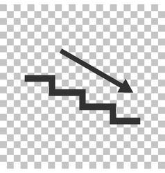 Stair down with arrow Dark gray icon on vector