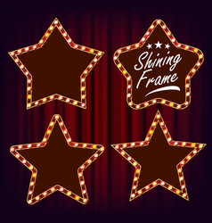 Star retro frame set realistic shine lamp vector