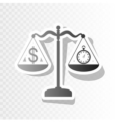 stopwatch and dollar symbol on scales new vector image