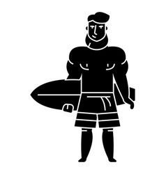 strong bearded man with surfing board icon vector image