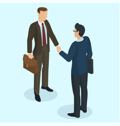 Successful businessmen handshaking vector