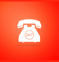 telephone 24 hours support icon isolated on orange vector image