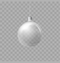 template of glass transparent christmas ball vector image