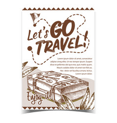 Travel valise luggage with stickers poster vector