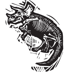 Triceratops fossil vector