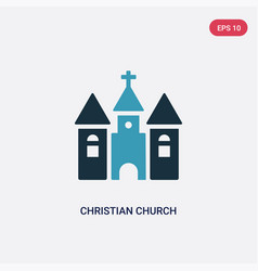 Two color christian church icon from shapes and vector