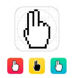 Two fingers Pixel hand cursor icon vector image