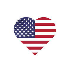 usa flag in a shape of heart patriotic national vector image