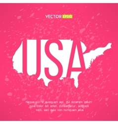 USA map in flat red design American border vector image