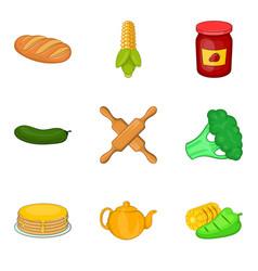 Vegan dietary food icons set cartoon style vector