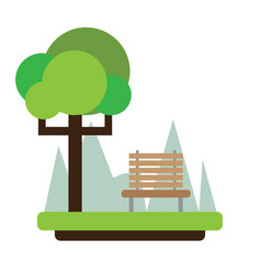 view of a park with a bench vector image
