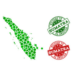 Welcome composition of map of sumatra island and vector