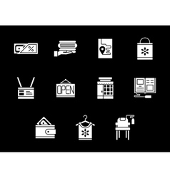 White glyph style online store icons set vector image