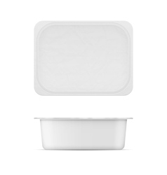 White plastic tub template for dairy products vector
