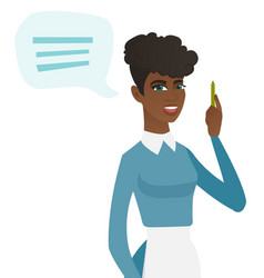 Young african-american cleaner with speech bubble vector