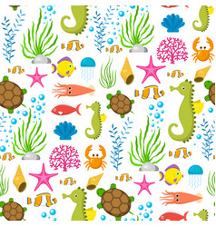 aquatic funny sea animals underwater creatures vector image