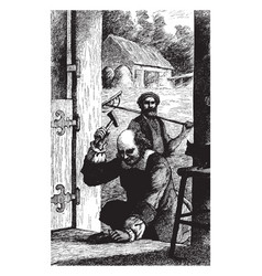 blacksmith hammering vintage vector image vector image