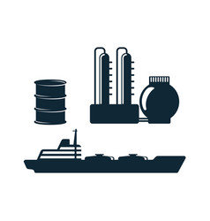 oil industry flat icon set pictogram vector image vector image