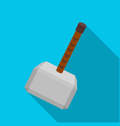 viking battle hammer icon in flate style isolated vector image