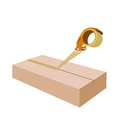 Adhesive Tape Dispenser Closing A Brown Cardboard vector image