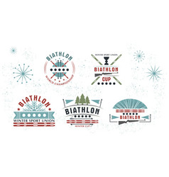 biathlon logo set winter vector image vector image