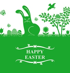 easter bunny greeting green vector image vector image